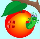 Caterpillar on the tree — Stock Vector