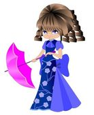 Dziewczynka z parasolem — Wektor stockowy