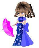 Una bambina con ombrello — Vettoriale Stock