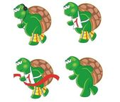 Four cartoon turtles — Stock Vector