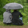 Girlfriends under a umbrella — Stock Photo