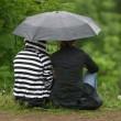 Girlfriends under a umbrella — Stock Photo