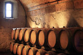 Cellar with wine flanks — Stock Photo