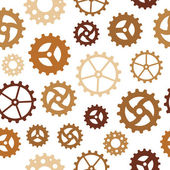 Different Gearwheels Seamless Background — Stock Vector