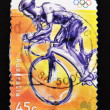 Stamp showing an Olympic cyclist — Stock Photo