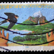 Stamp showing a landscape under the name of environmental charter — Stock Photo