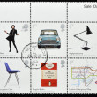 Stamp shows different british design classics — Stock Photo