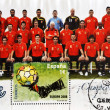 Royalty-Free Stock Photo: Stamp shows the Spanish football champions of Europe