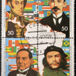 Stock Photo: Stamp shows historical figures of Latin Americintegration