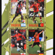 Stock Photo: Stamp with top football players of world