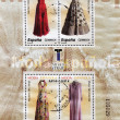 Stamp shows different dresses from the Museum of Costume — Stock Photo