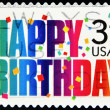 Stamp that displays the words Happy Birthday — Stock Photo