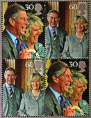 Stamp commemorating wedding the Prince of Wales and Camilla Parker Bowles — Stock Photo