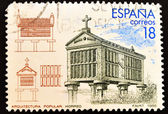 Stamp showing a granary, Spanish architecture — Stock Photo