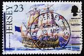 イギリスの旗の帆船を示すスタンプ — ストック写真