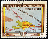 Stamp shows map of the Dominican Republic — Stock Photo