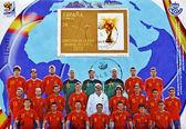 Selo mostrando futebol espanhol mundo campeão 2010 fifa copa — Foto Stock