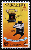 Stamp shows image commemorating the progress of telecommunications — Stock Photo