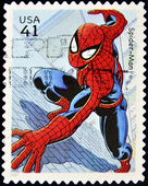 Stamp with spiderman — 图库照片
