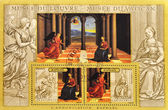 Stamp shows the painting The Annunciation Raphael — Stock Photo