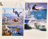 Stamp Shows different extreme sports — Stock Photo