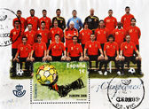 Stamp shows the Spanish football champions of Europe — Stock Photo