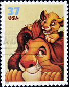 Stamp with Mufasa and Simba — Stock Photo