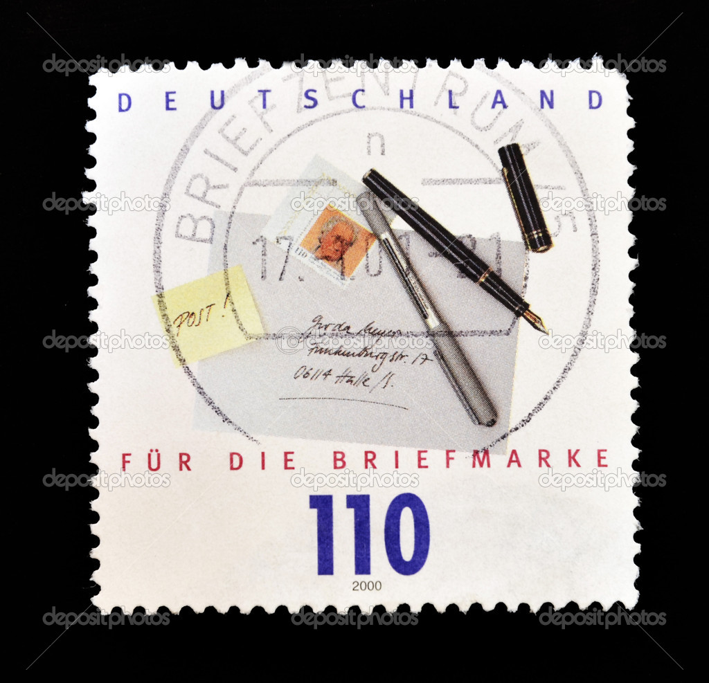 GERMANY - CIRCA 2000: A stamp printed in Germany shows the envelope of a letter, pens and post it, circa 2000  — Stock Photo #6904555