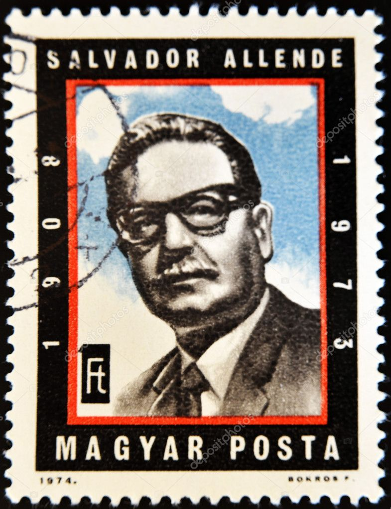 HUNGARY - CIRCA 1974: A stamp printed in Hungary shows Chilean President Salvador Allende, circa 1974  — Stock Photo #6904567