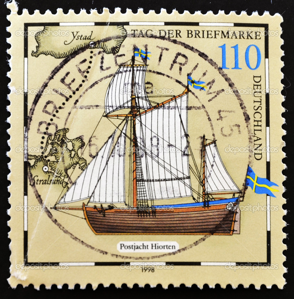 GERMANY - CIRCA 1998: stamp printed by Germany, shows Postal sailing Ship, circa 1998  — Stock Photo #6904578
