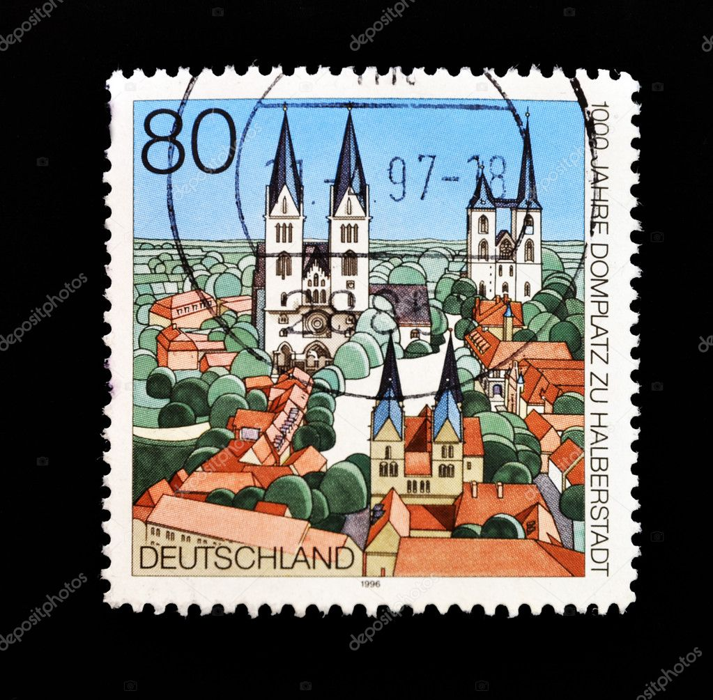 GERMANY - CIRCA 1996: A stamp printed in Germany commemorating the 1000 years of Domplatz zu Halberstadt, circa 1996   Stock Photo #6904583