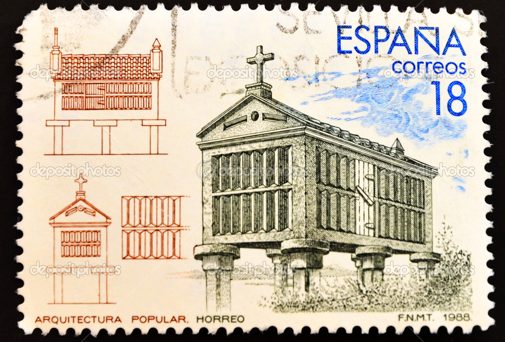 SPAIN - CIRCA 1988: A stamp printed in Spain showing a granary, Spanish architecture, circa 1988 — Stock Photo #6904611
