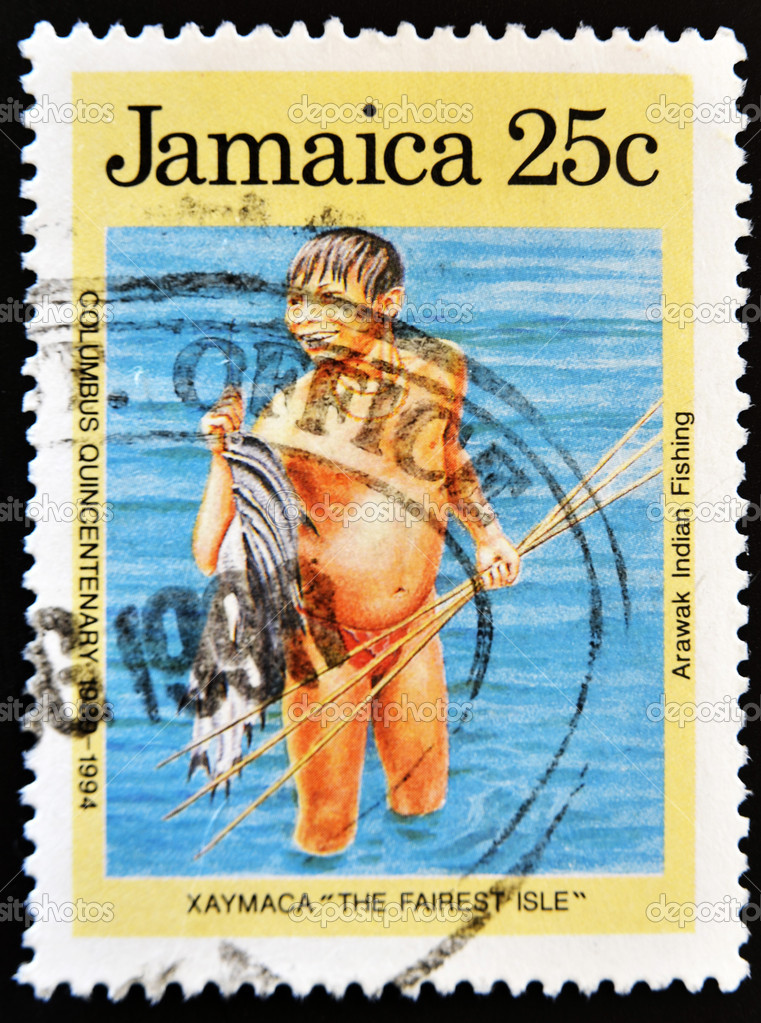 JAMAICA - CIRCA 1994: A stamp printed in Jamaica shows arawak indian fishing, circa 1994  — Stock Photo #6904624