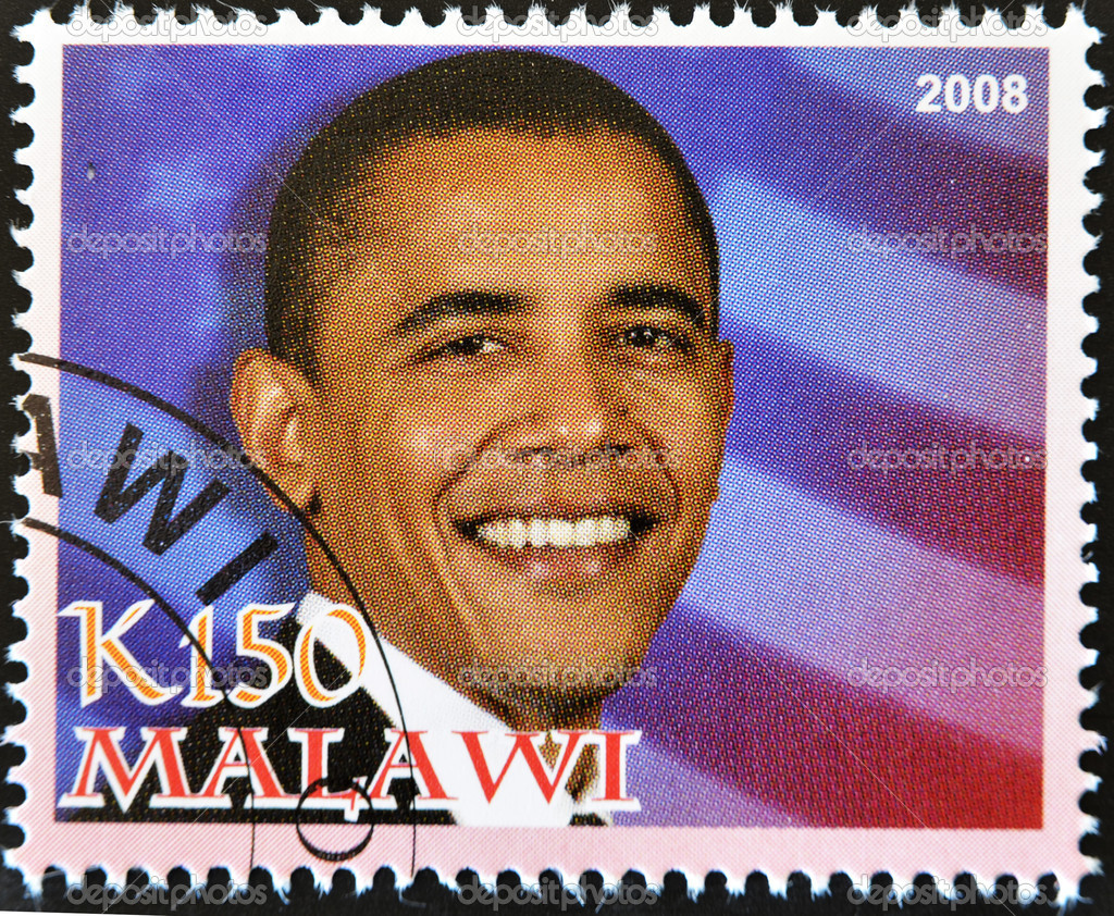 MALAWI - CIRCA 2008: A stamp printed in Malawi shows the 44th President of United States of America, Barack Obama, circa 2008  — Stock Photo #6904662