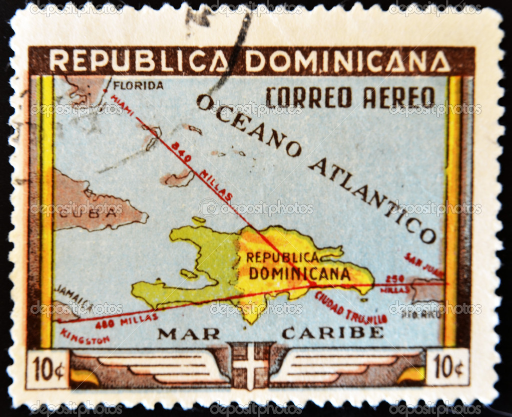 DOMINICAN REPUBLIC - CIRCA 1983: A stamp printed in Dominican Republic shows map of the Dominican Republic, circa 1983  — Stock Photo #6904669