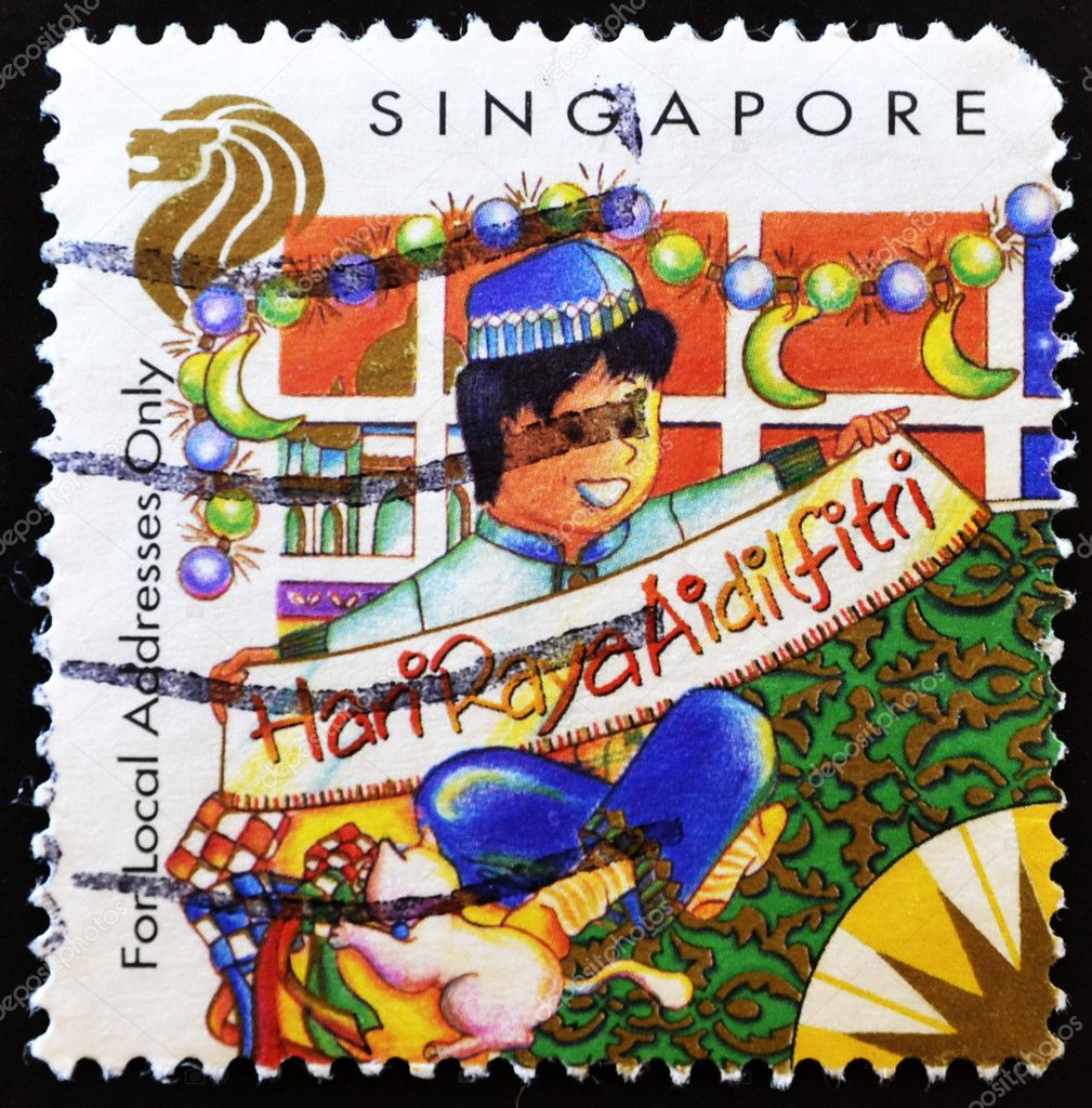 SINGAPORE-CIRCA 1998: A stamp printed in Singapore shows Christmas (Local Addresses only), circa 1998.  — Stock Photo #6904690