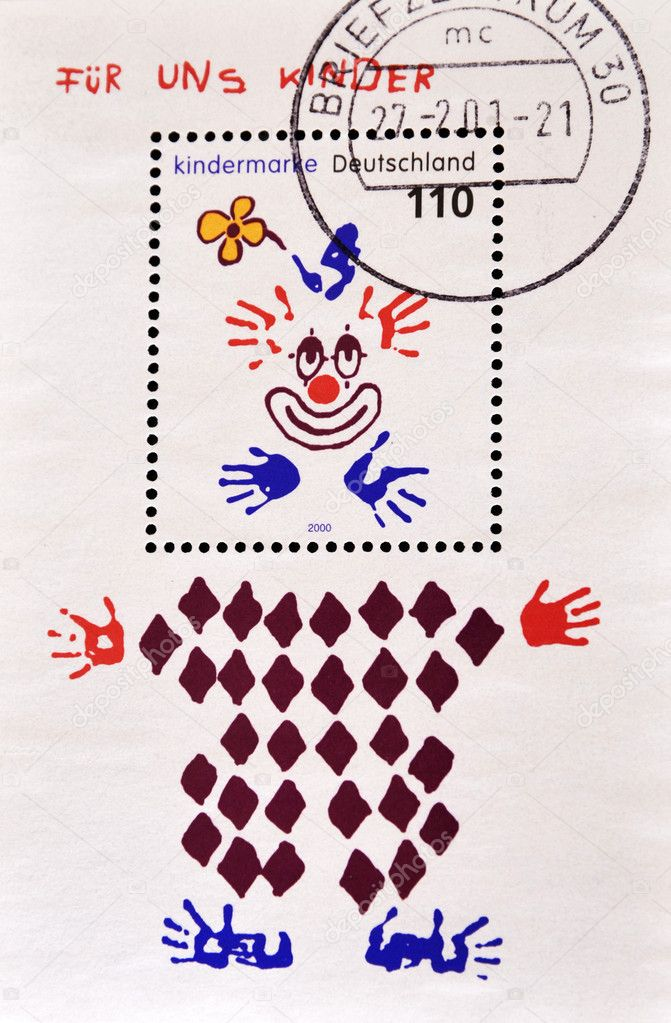 GERMANY - CIRCA 2000: A stamp printed in Germany shows drawing a clown, circa 2000   Stock Photo #6904711