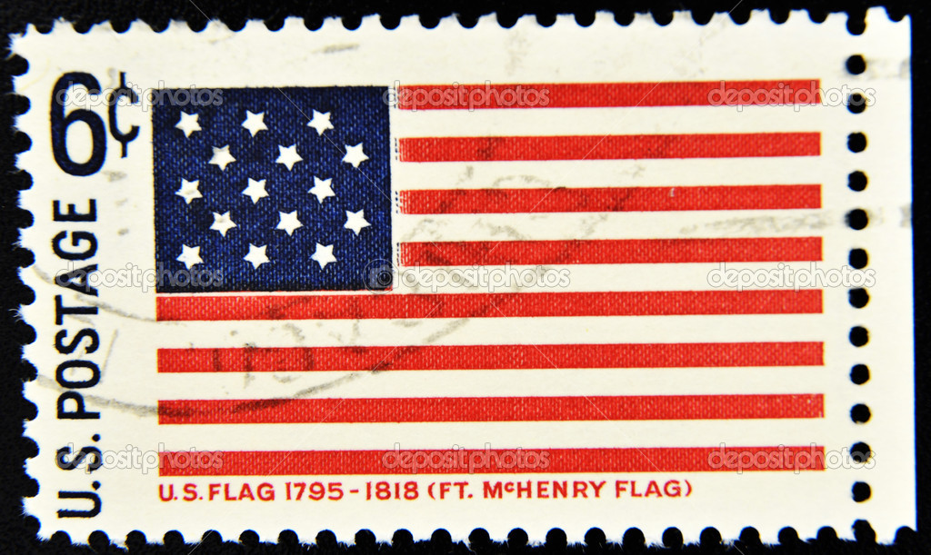 UNITED STATES OF AMERICA - CIRCA 1990: A stamp printed in USA shows Fort McHenry Flag, circa 1990   Foto de Stock   #6904727