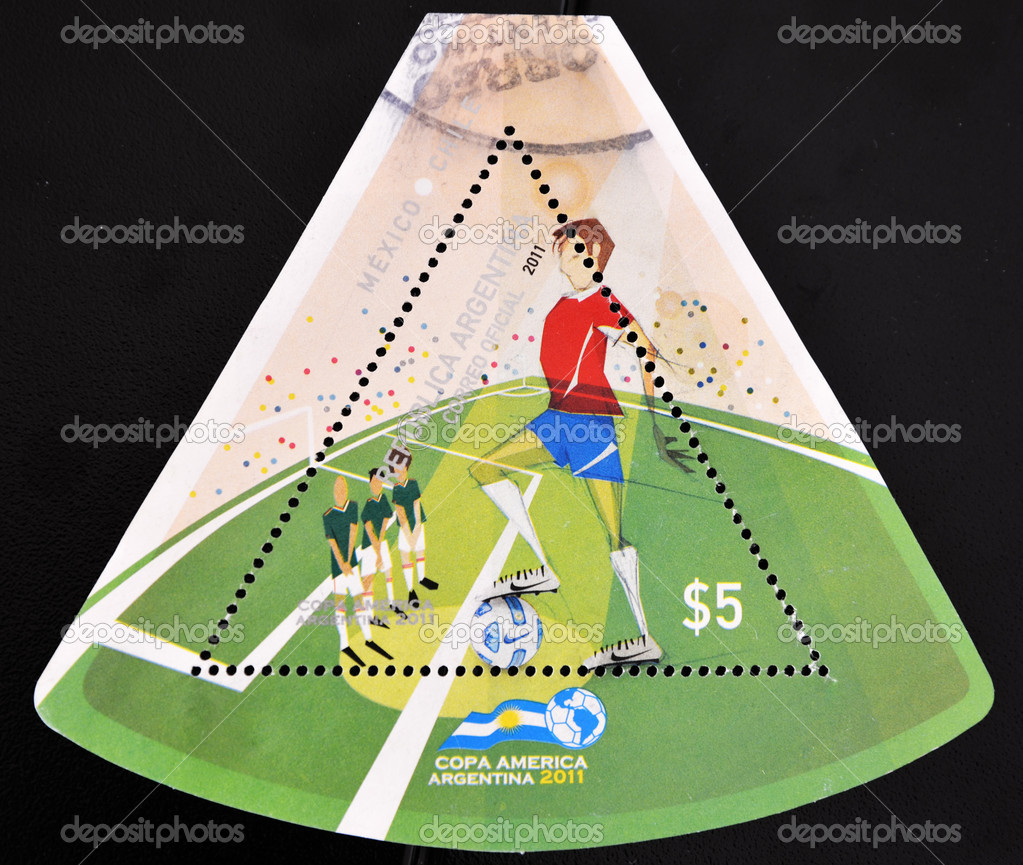ARGENTINA - CIRCA 2011: A stamp printed in Argentina shows pictures of football players in reference to the soccer cups of america, circa 2011  — Stock Photo #6904753