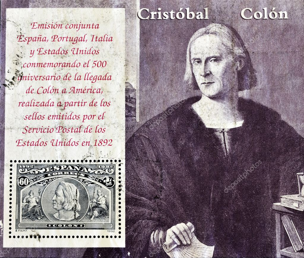 SPAIN - CIRCA 1992: A stamp printed in Spain commemorating the 500th anniversary of Columbus' arrival to America,  circa 1992 — Stock Photo #6904755