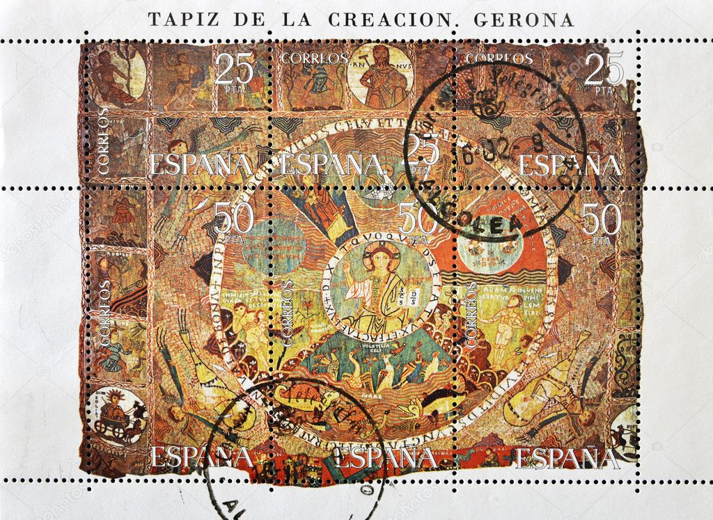 SPAIN - CIRCA 1980: A stamp printed in Spain shows the tapestry of creation, circa 1980  — Stock Photo #6904765