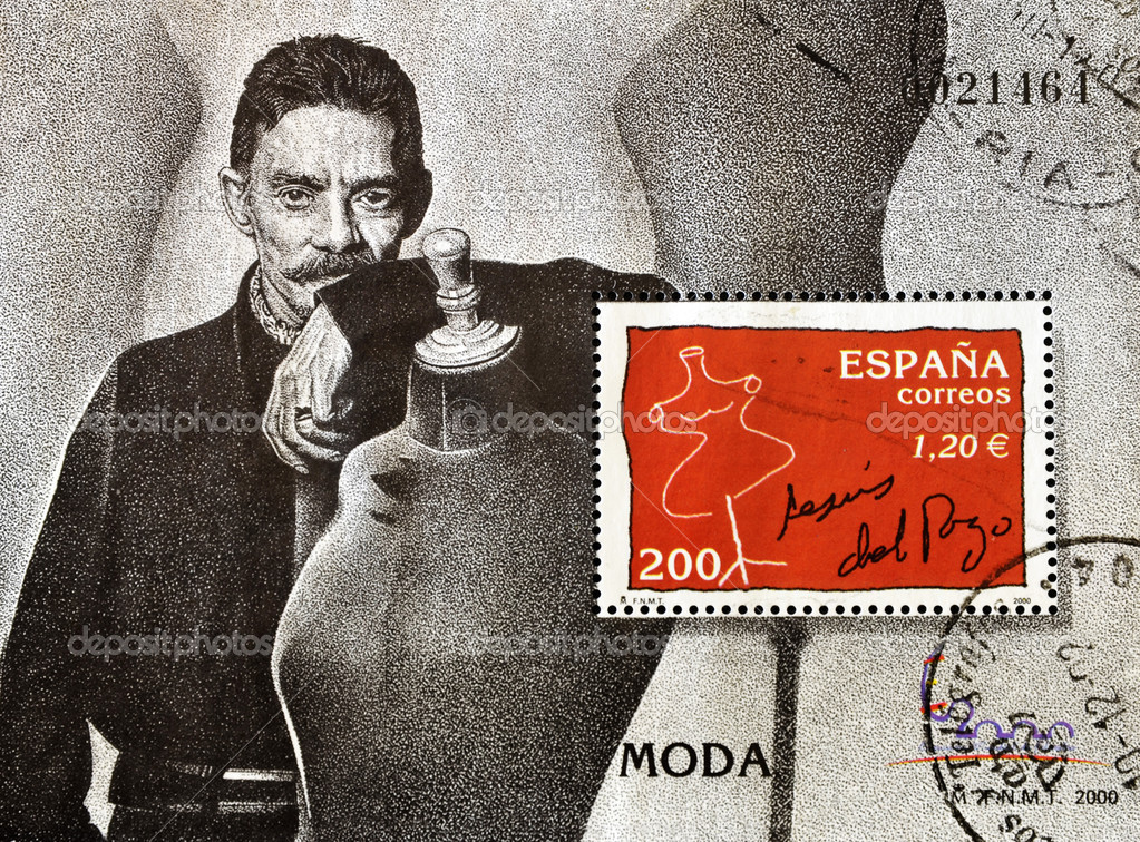 SPAIN - CIRCA 2000: A stamp printed in spain showing the famous Spanish designer Jesús del Pozo, circa 2000  — Stock Photo #6904789