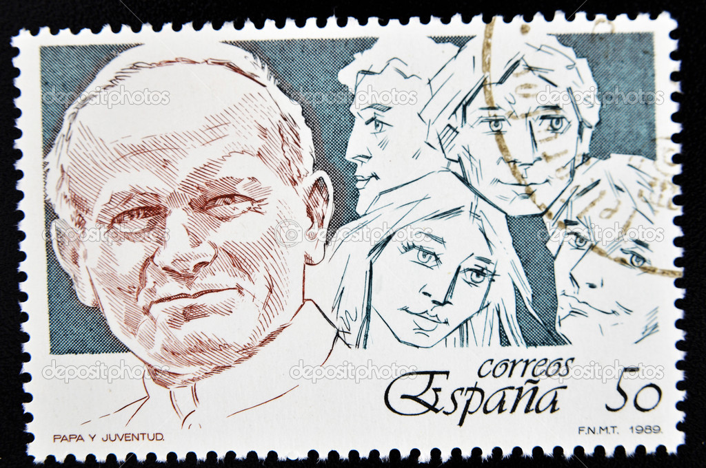 SPAIN - CIRCA 1989: A stamp printed in Spain showing the Pope and the youth, circa 1989   Foto de Stock   #6904790