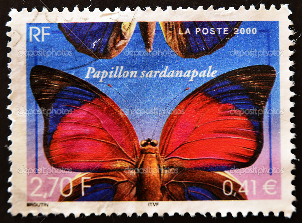 FRANCE - CIRCA 2000: A stamp printed in France showing a butterfly, papillon sardanapale, circa 2000 — Stock Photo #6904809