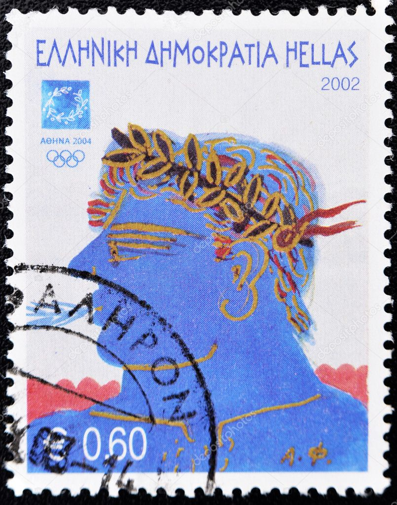 GREECE - CIRCA 2002: A stamp printed in Greece shows an illustration alluding to the 2004 Athens Olympics, circa 2002   Stock Photo #6904928