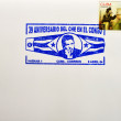 Stock Photo: Stamp shows image of Che Guevarsmoking and rebel radio