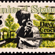 Royalty-Free Stock Photo: Stamp shows Davy Crockett and Scrub Pines