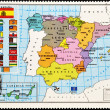 Stock Photo: Stamp shows map of Spain with Autonomous Communities