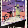 Stamp shows the Statue of Liberty - Stock Photo