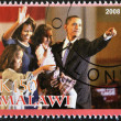 Stamp shows Barack Obama and your family - 图库照片